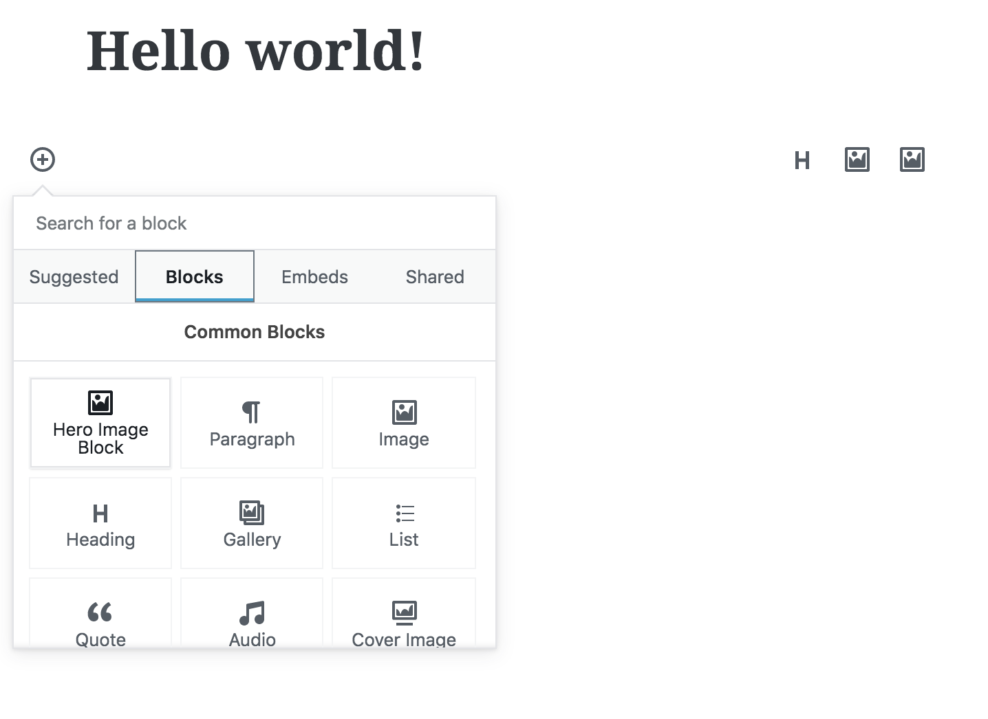 "WordPress Gutenberg editor menu open and displaying ""Hero Image Block"" as an option"