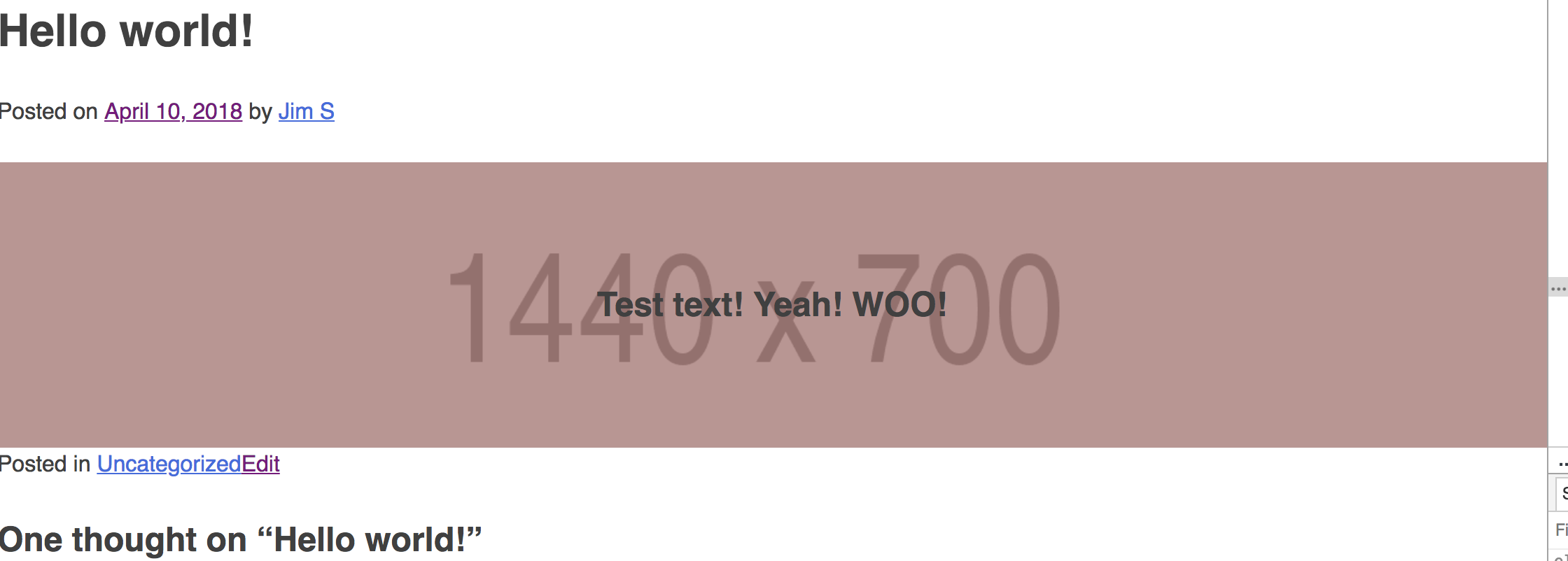 The hero image block has a transparent overlay and properly positioned text.