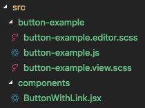 Button.jsx inside of our component folder, sibling to our block folder