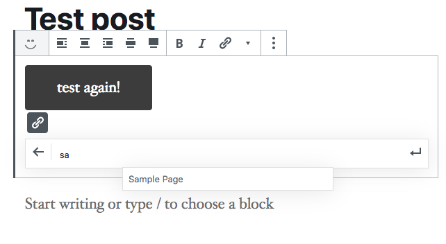 Url input auto-suggesting 'sample page'