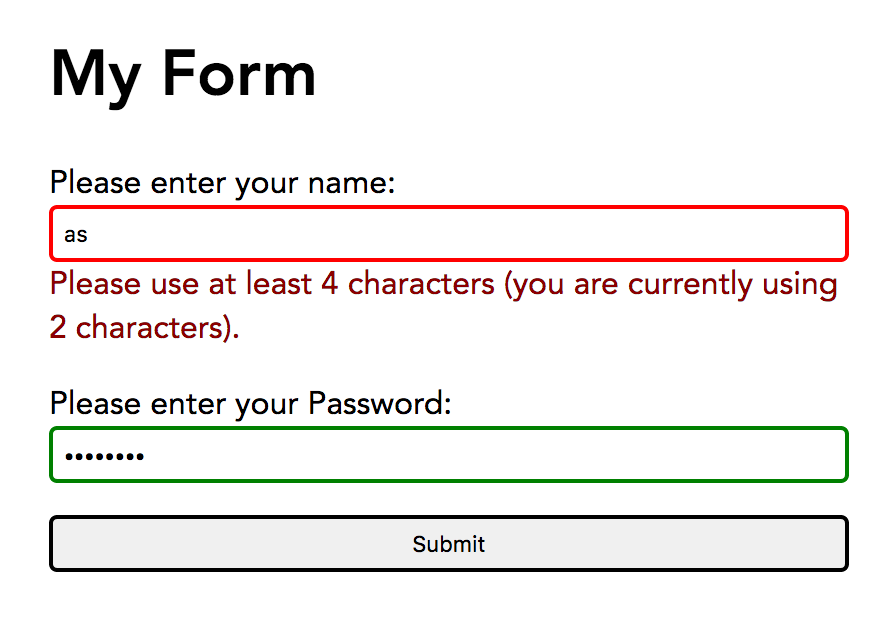 A form showing error messaging and validity classes